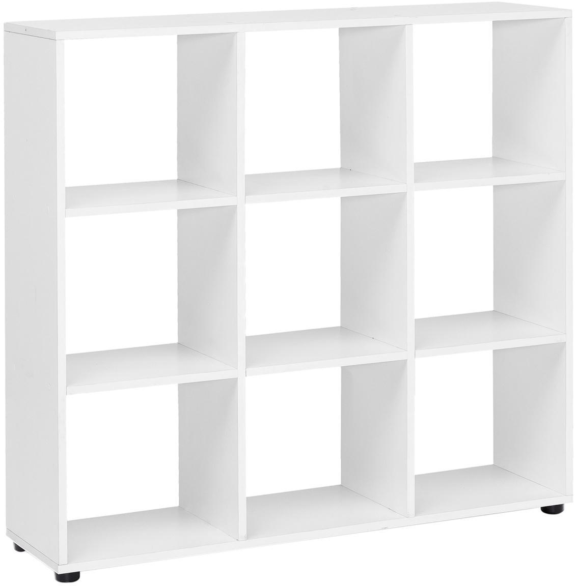 Modernes Standregal Zara in Weiß Matt, Spanplatte, melaminbeschichtet, Weiß, Schwarz, 108 x 104 cm