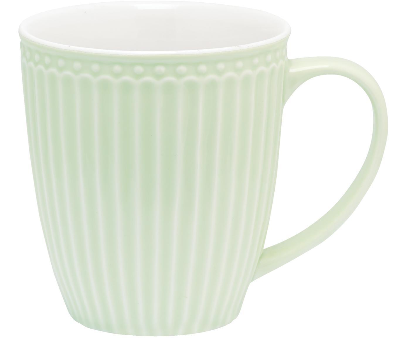 Handgefertigte Tassen Alice in Pastellgrün mit Reliefdesign, 2 Stück, Steingut, Mintgrün, Ø 10 x H 10 cm