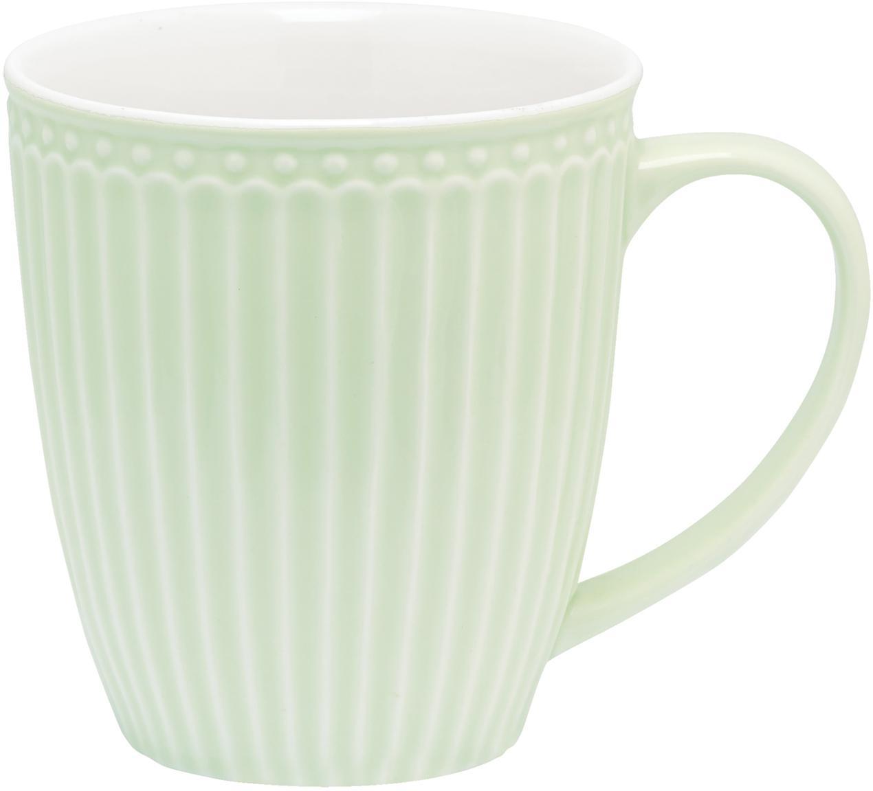 Handgemachte Tassen Alice in Pastellgrün mit Reliefdesign, 2 Stück, Steingut, Mintgrün, Ø 10 x H 10 cm