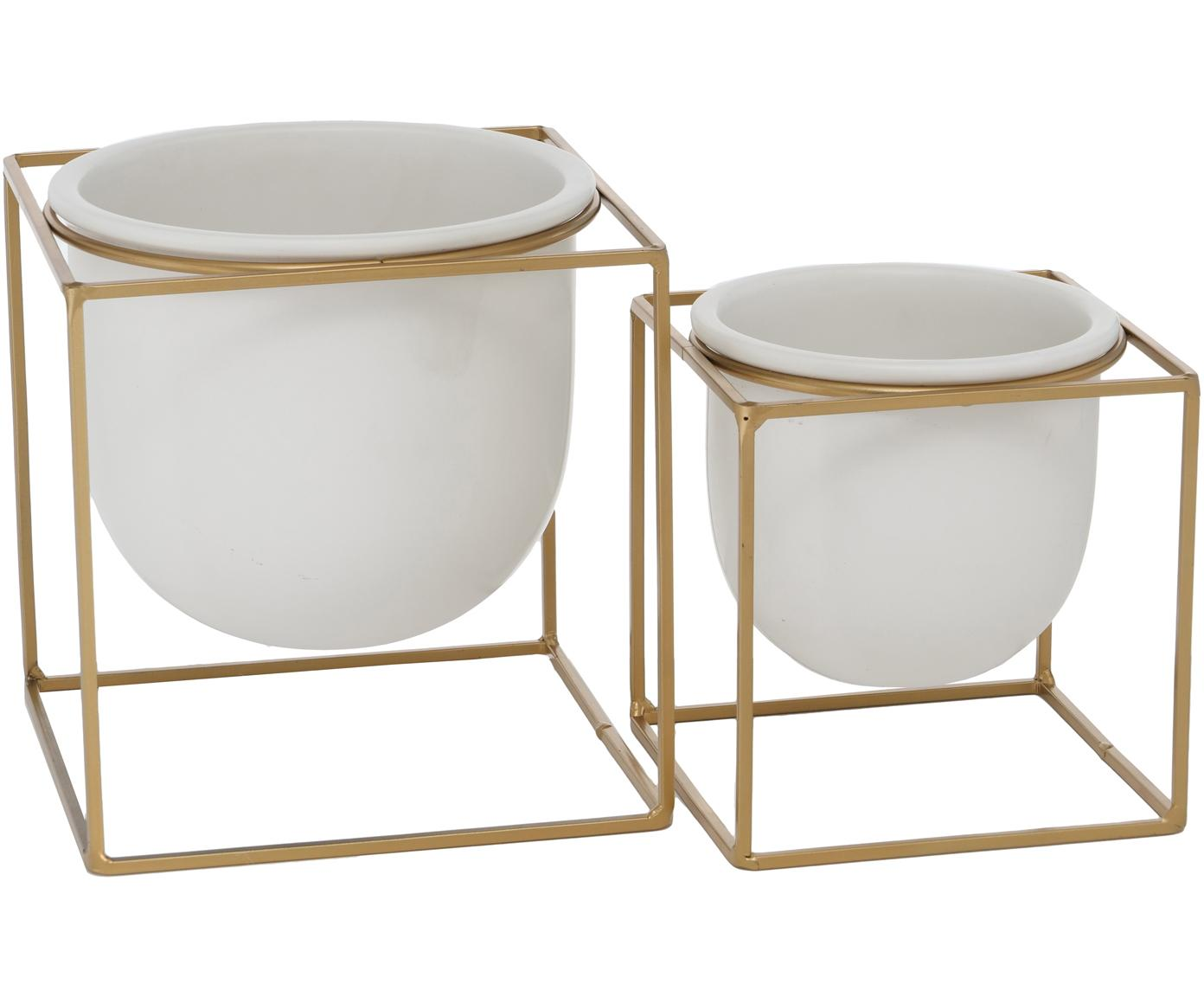 Set 2 portavasi con struttura in metallo Kumbo, Struttura: metallo rivestito, Bianco, ottonato, Set in varie misure