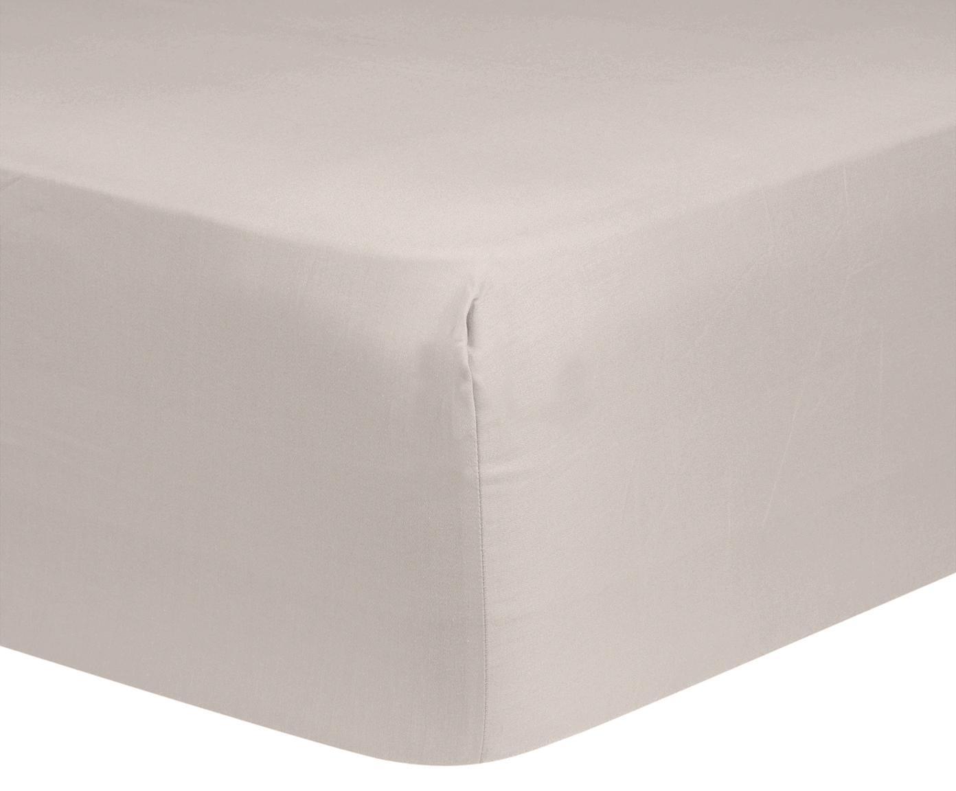Prześcieradło z gumką na łóżko kontynentalne z satyny bawełnianej Comfort, Taupe, S 200 x D 200 cm