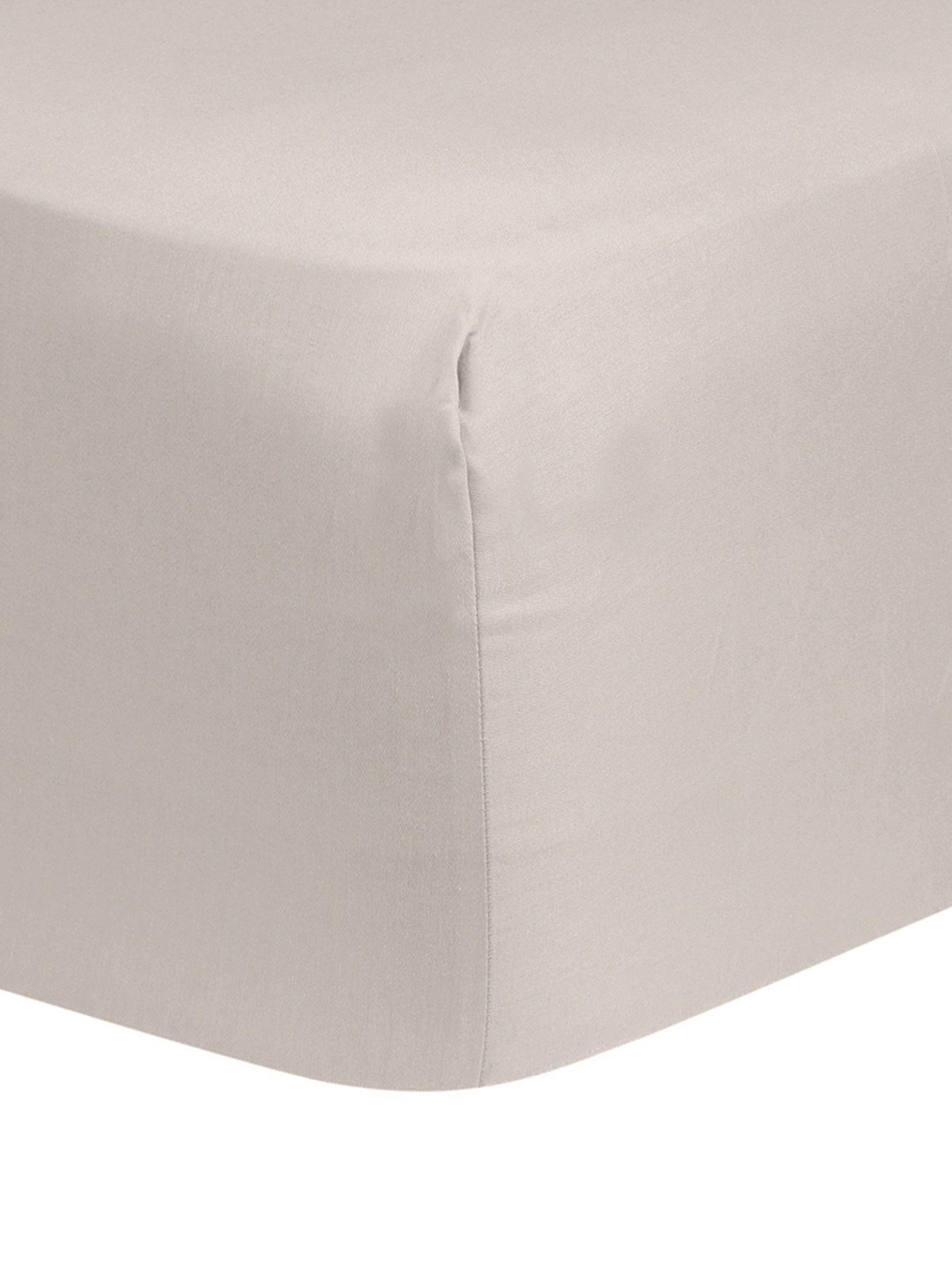 Lenzuolo con angoli in raso di cotone Comfort, Taupe, Larg. 160 x Lung. 200 cm
