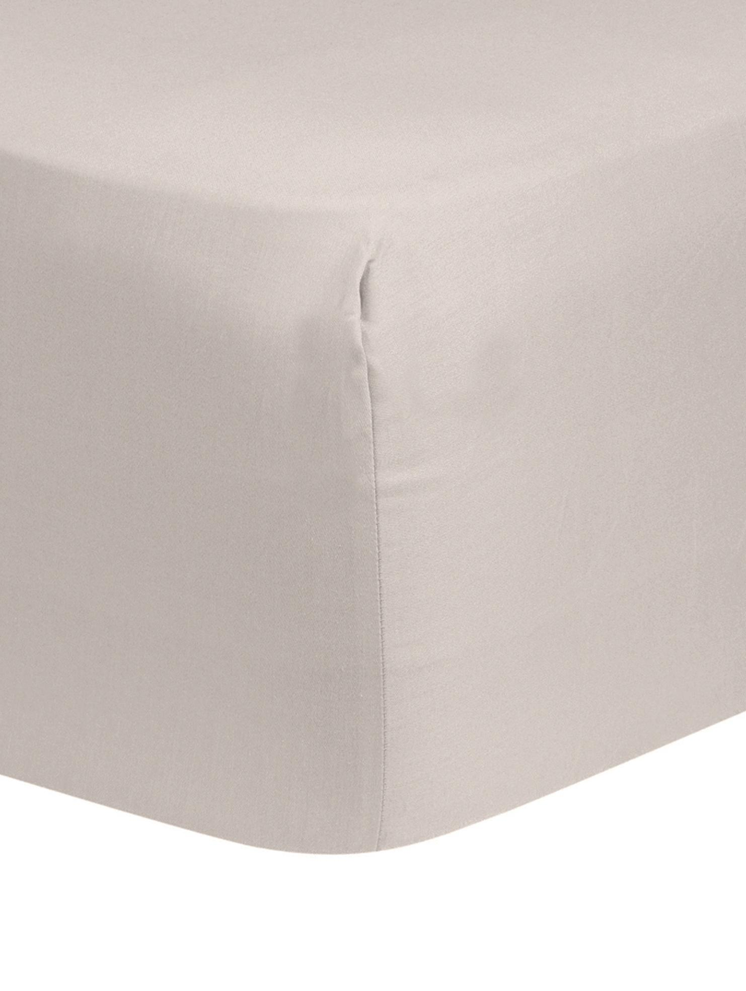 Boxspring-Spannbettlaken Comfort, Baumwollsatin, Webart: Satin, leicht glänzend, Taupe, 160 x 200 cm