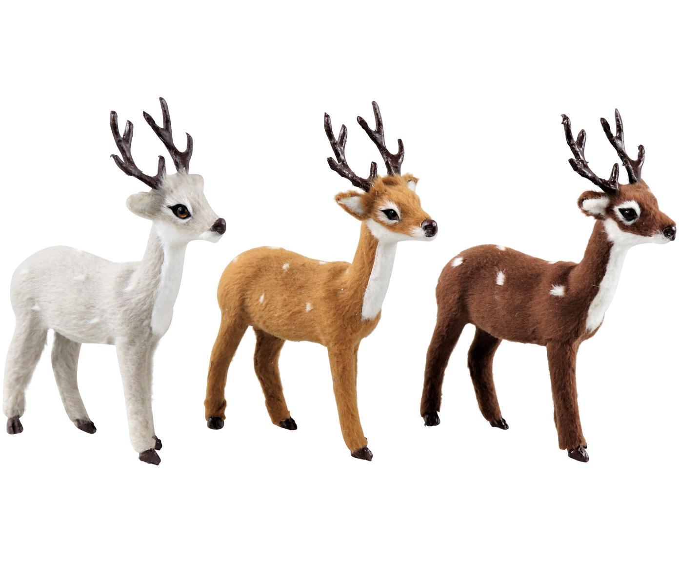 Deko-Objekte Deer, 3-tlg., Polyresin, Weiß, Brauntöne, 13 x 13 cm