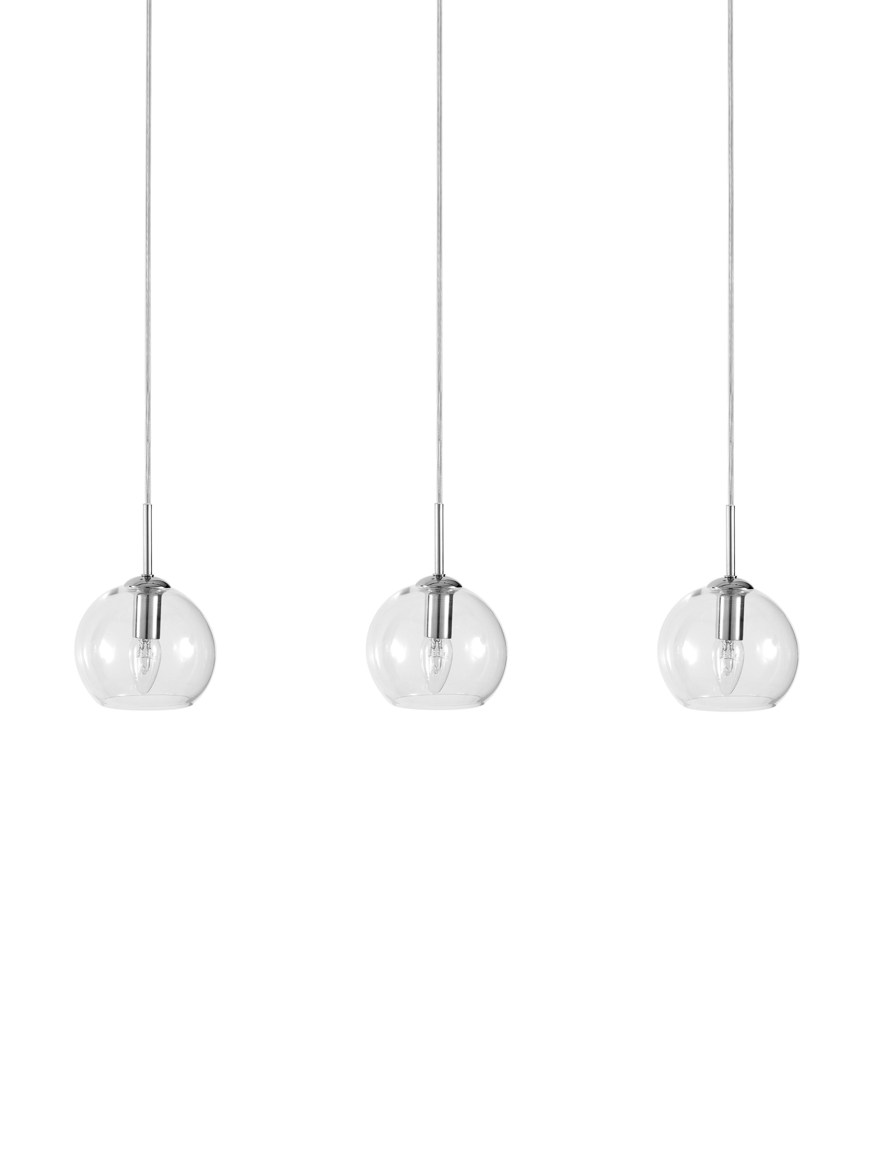 Pendelleuchte Hamilton in Silber, Gestell: Metall, verchromt, Baldachin: Metall, verchromt, Transparent, B 81 x T 15 cm