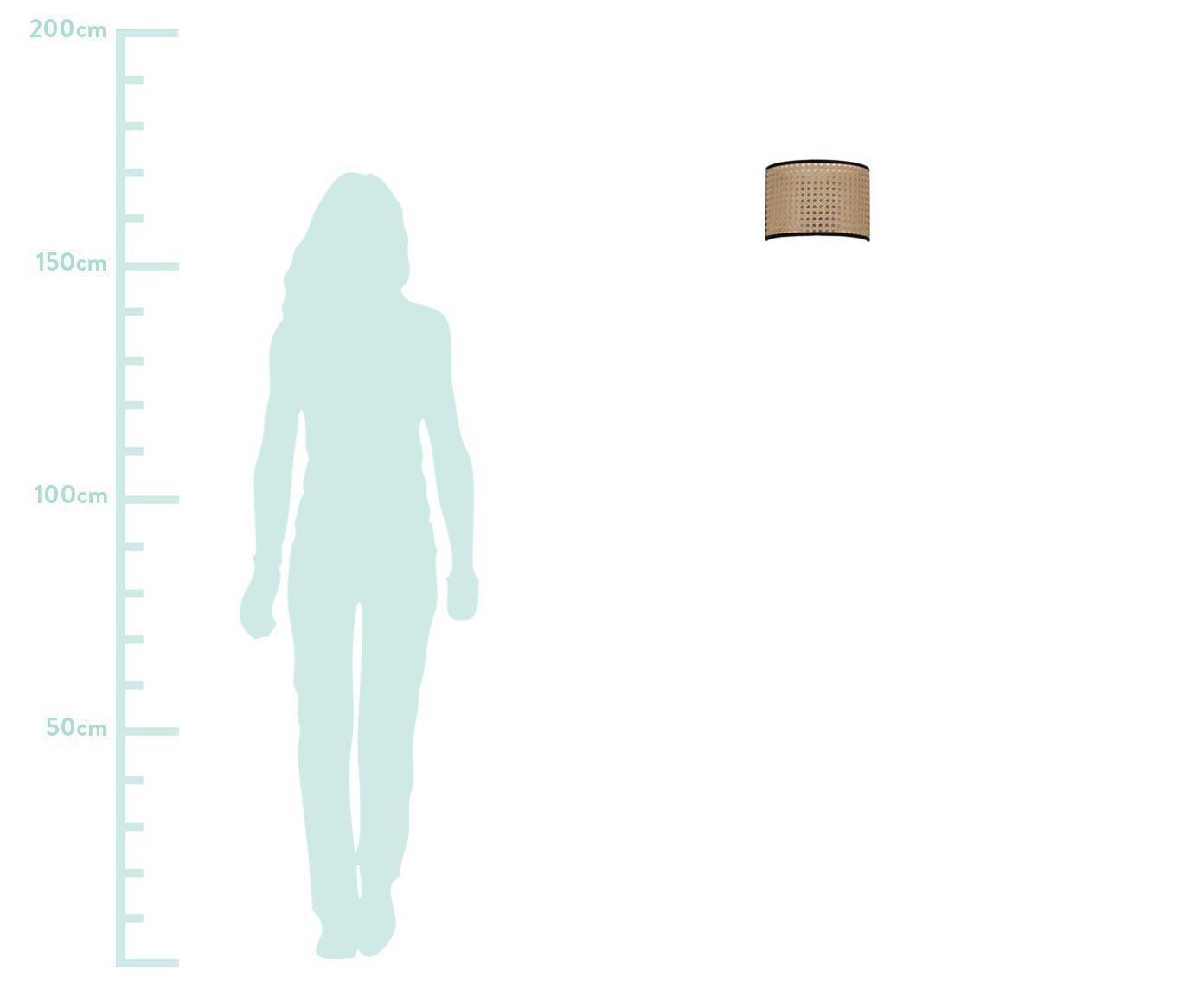 Applique in intreccio viennese con spina Vienna, Paralume: materiale sintetico, Paralume: beige, nero portalampada: nero, opaco, Larg. 22 x Alt. 16 cm