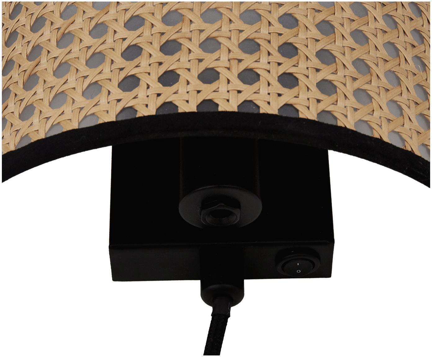 Kinkiet z plecionką wiedeńską z wtyczką Vienna, Klosz: beżowy, czarny Stelaż lampy: czarny, matowy, S 22 x W 16 cm