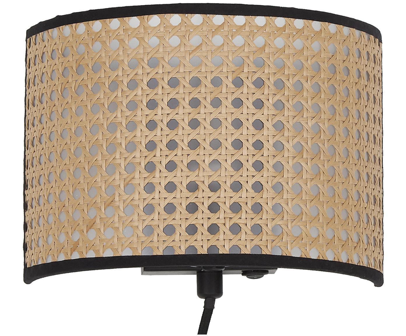 Wandlamp Vienna, DEQ19WES66489-151193, Lampenkap: beige, zwart Lampframe: mat zwart, 22 x 16 cm