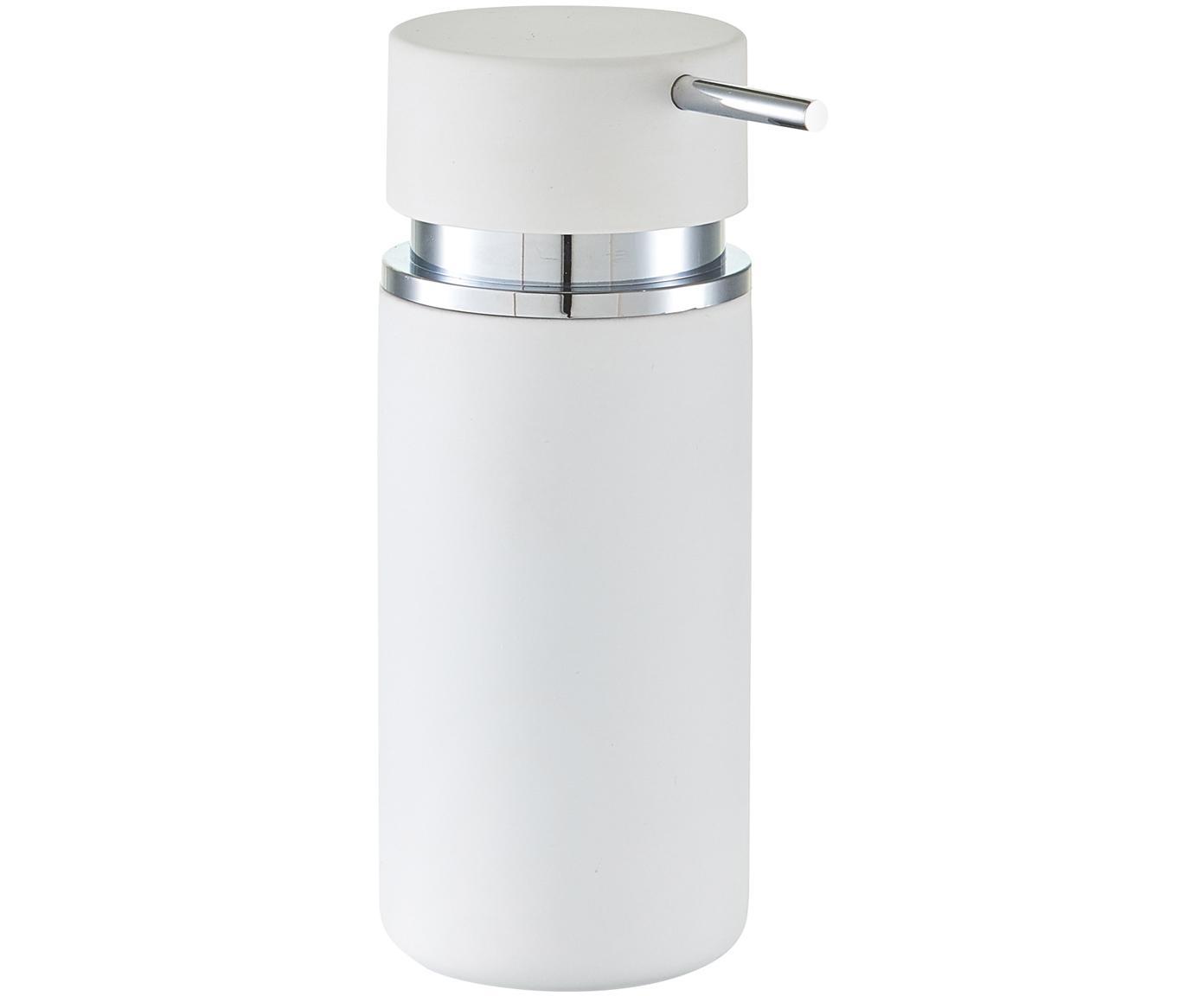 Dosificador de jabón Mateo, Recipiente: cerámica con superficie d, Blanco, cromo, Ø 7 x Al 17 cm