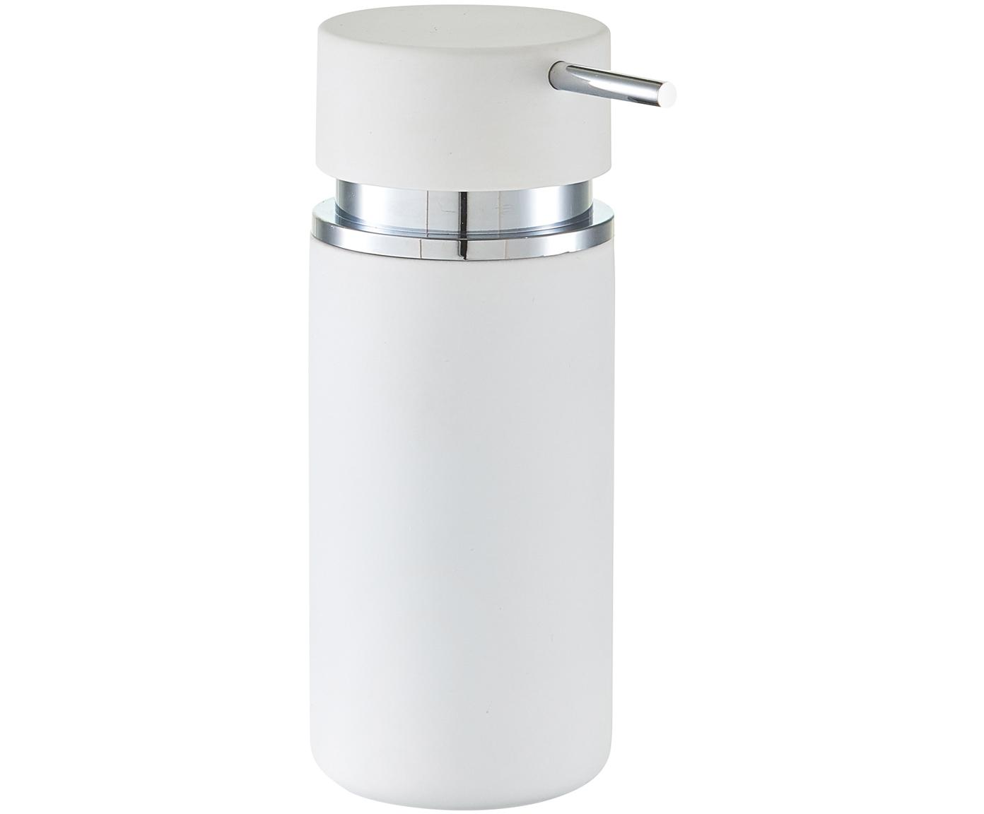 Keramik-Seifenspender Mateo, Pumpkopf: Kunststoff, verchromt, Weiß, Chrom, Ø 7 x H 17 cm