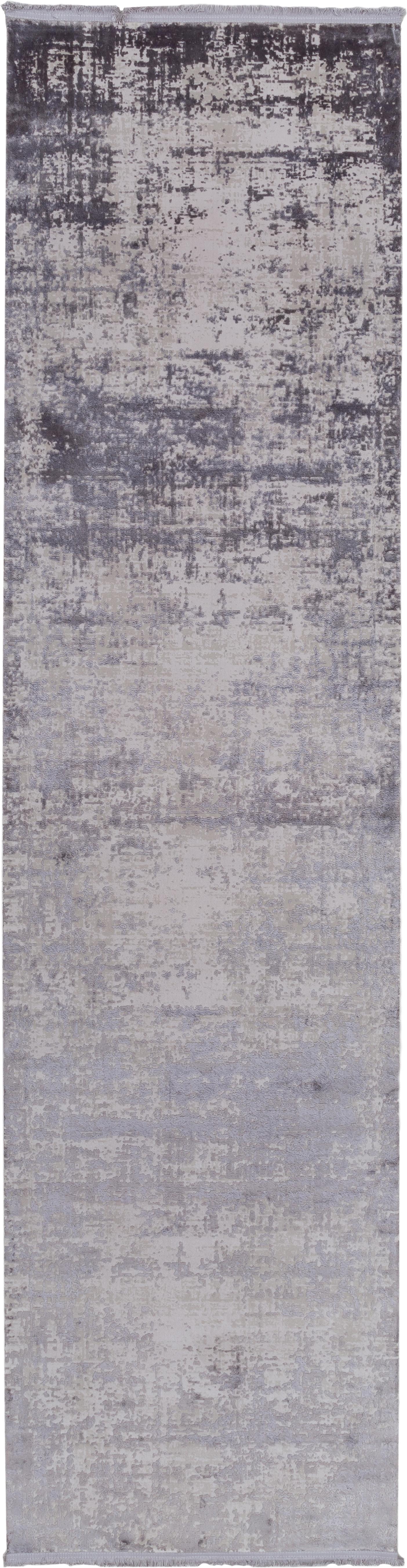 Passatoia vintage con frange effetto lucido Cordoba, Retro: cotone, Grigio chiaro, grigio scuro, Larg. 80 x Lung. 300 cm