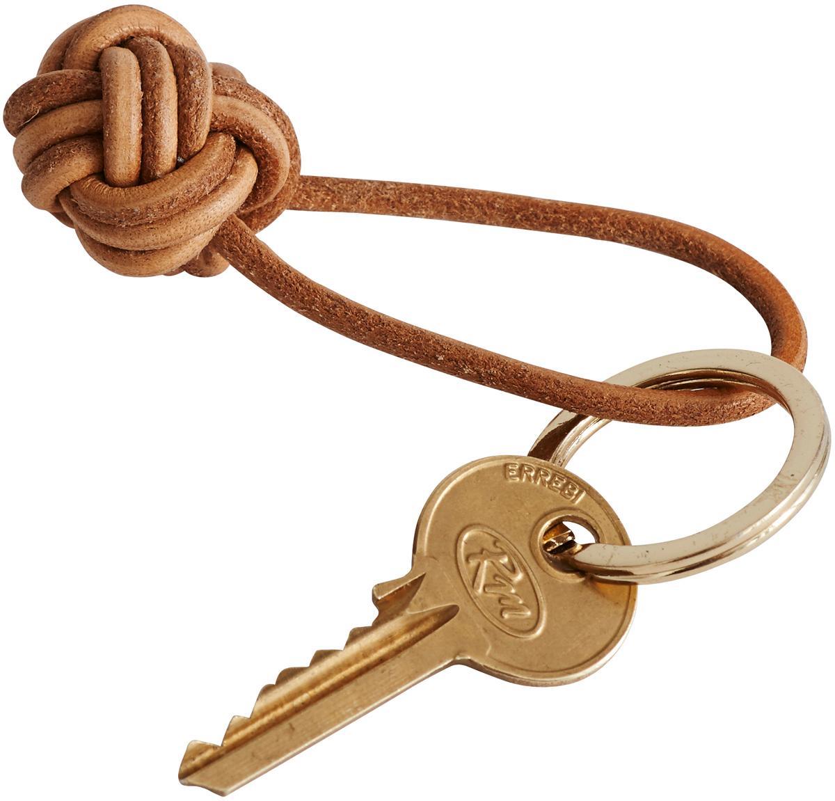 Schlüsselanhänger Knot, Leder, Braun, Ø 4 cm