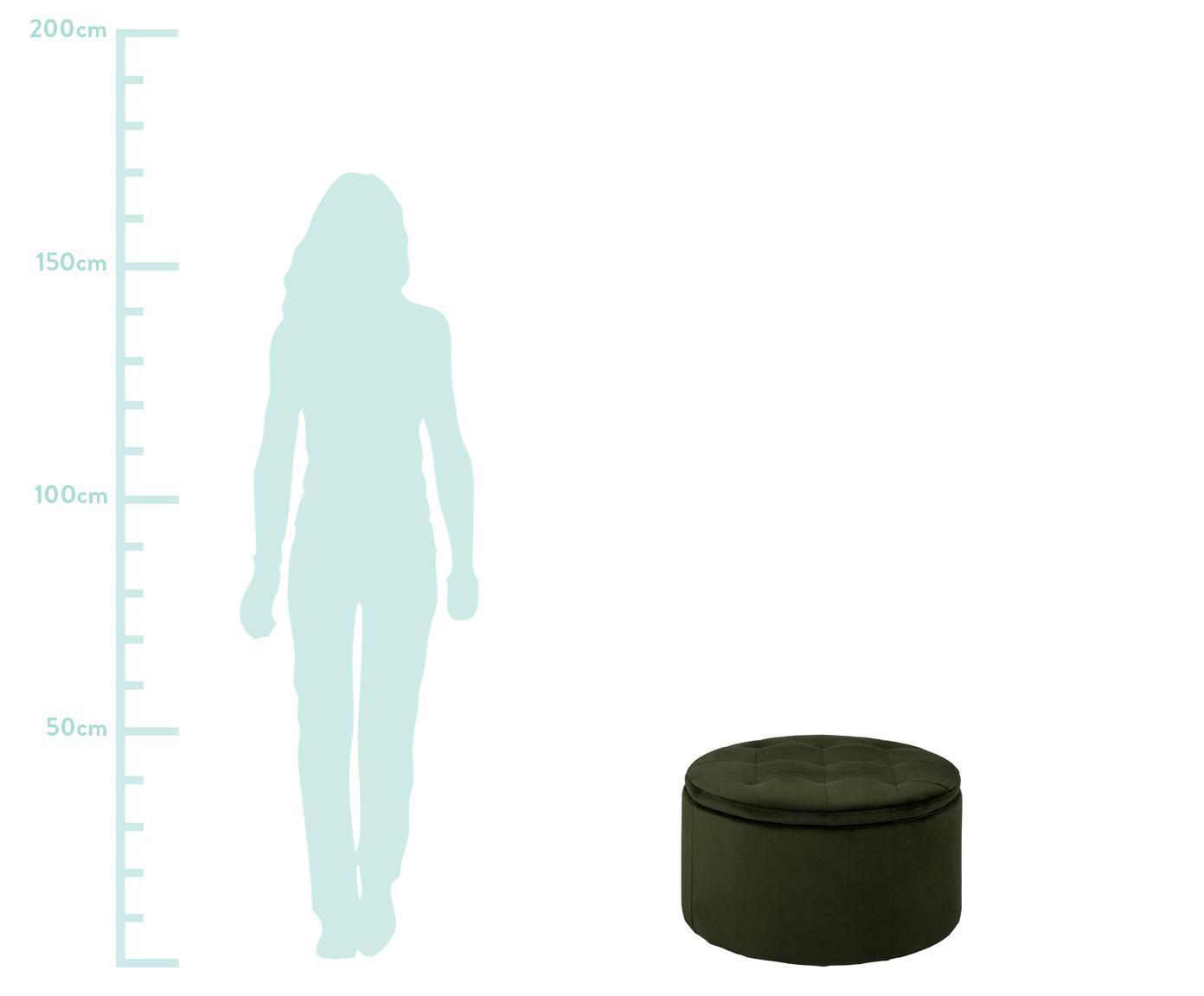 Samt-Hocker Retina mit Stauraum, Bezug: Polyestersamt 25.000 Sche, Gestell: Kunststoff, Waldgrün, Ø 60 x H 35 cm
