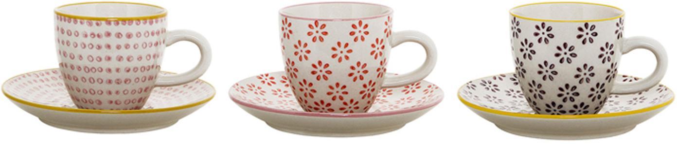 Set 3 tazze caffè con piattini Susie, Ceramica, Bianco, rosso, rosa, nero, giallo, Ø 6 x Alt. 6 cm