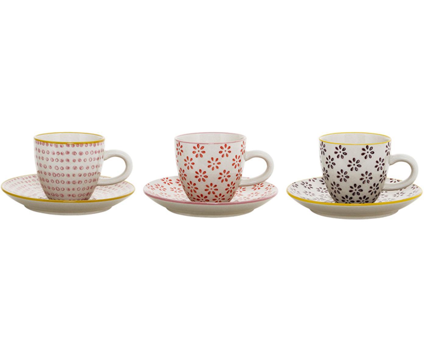 Espressokopjes set Line, 6-delig., Keramiek, Wit, rood, roze, zwart, geel, Ø 6 x H 6 cm
