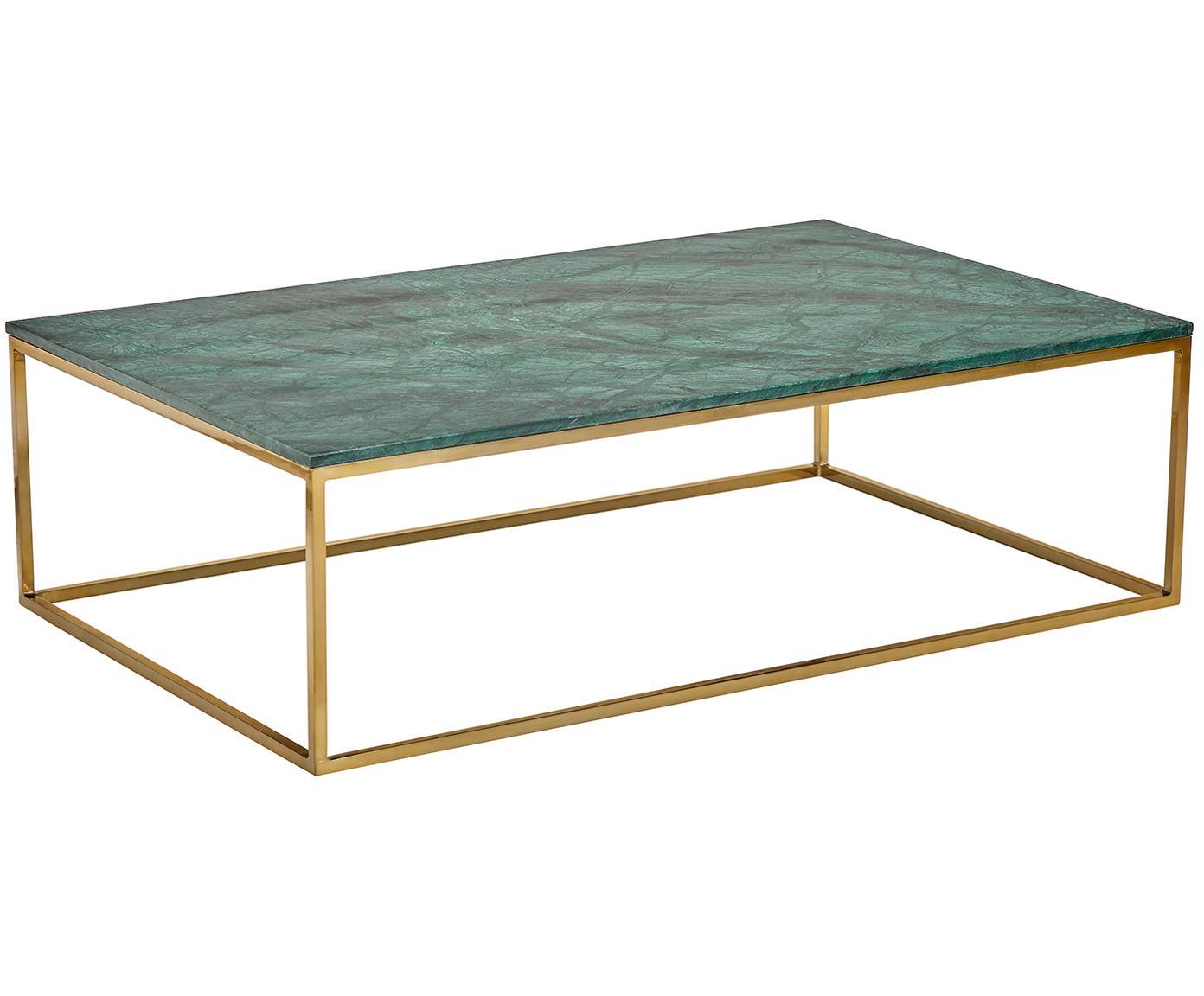 Tavolino da salotto con piano in marmo Alys, Piano d'appoggio: pietra naturale di marmo, Struttura: metallo rivestito, Marmo verde, dorato, Larg. 120 x Prof. 75 cm