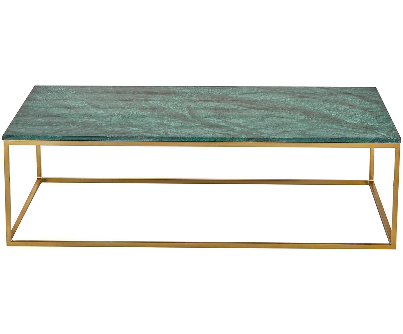 Stolik kawowy z marmuru Alys, Blat: marmur naturalny, Stelaż: metal powlekany, Zielony marmur, odcienie złotego, S 120 x G 75 cm