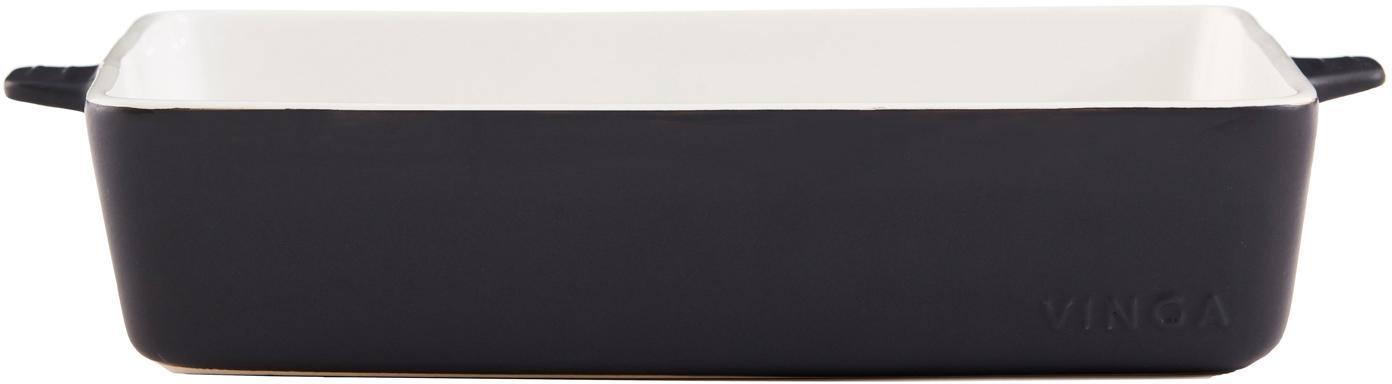 Ovenschaal Monte, buitenzijde mat/ binnenzijde glanzend, Keramiek, Zwart, wit, B 35 x D 24 cm