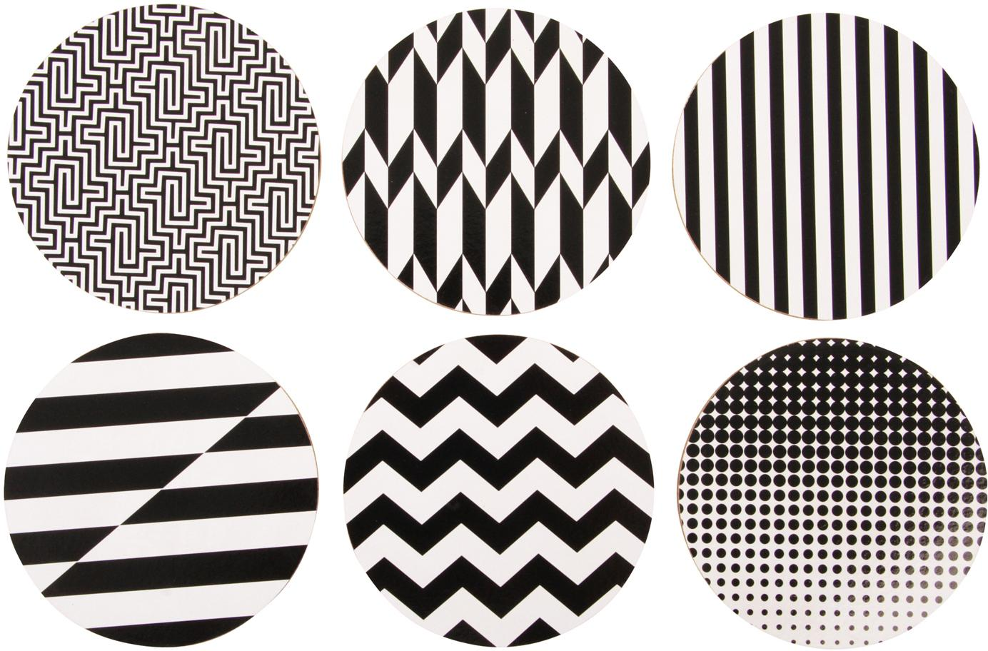 Set sottobicchieri Black and White, 6 pz., Sughero, rivestito, Nero, bianco, Ø 10 cm