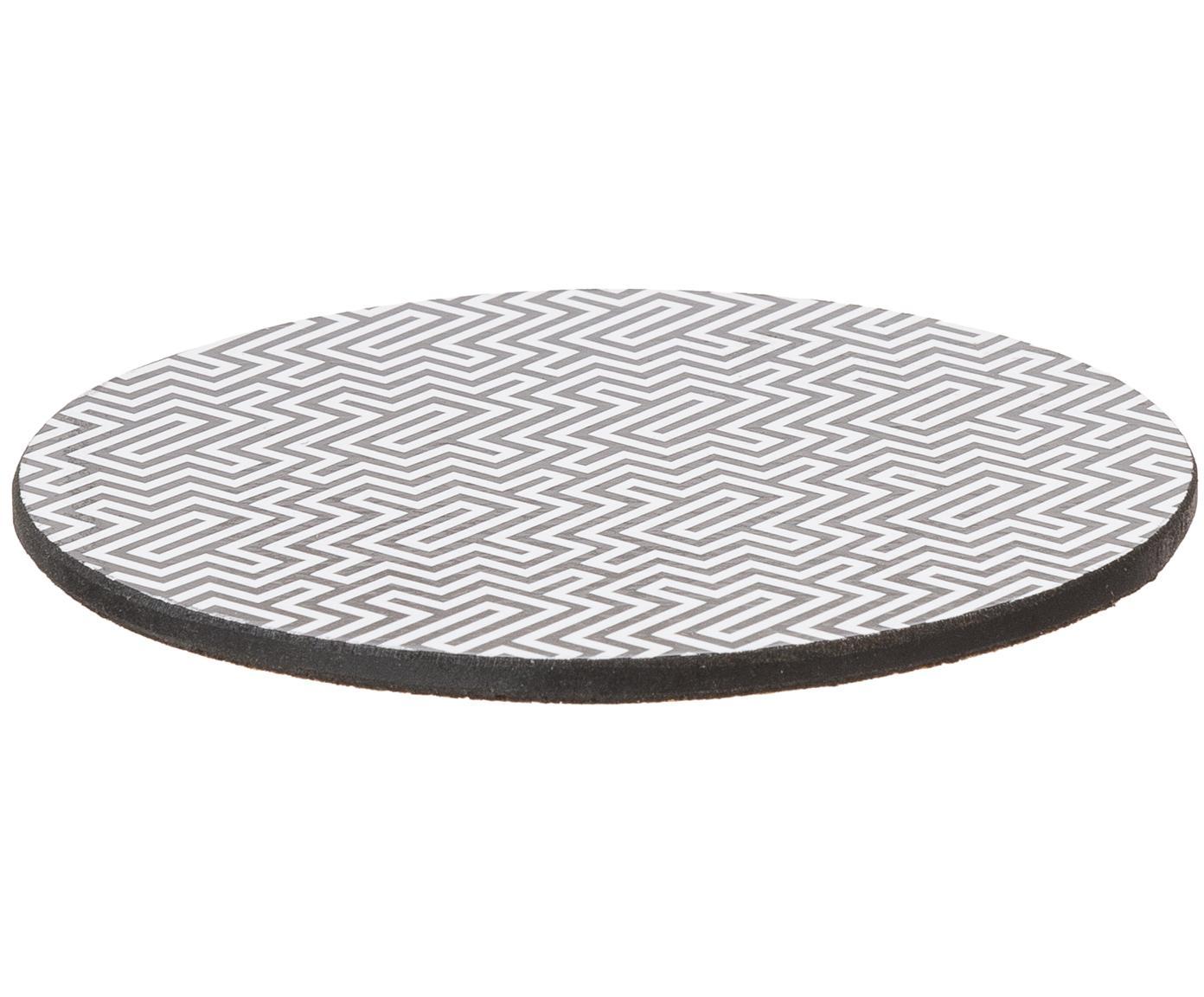Untersetzer-Set Black and White, 6-tlg., Kork, beschichtet, Schwarz, Weiß, Ø 10 cm