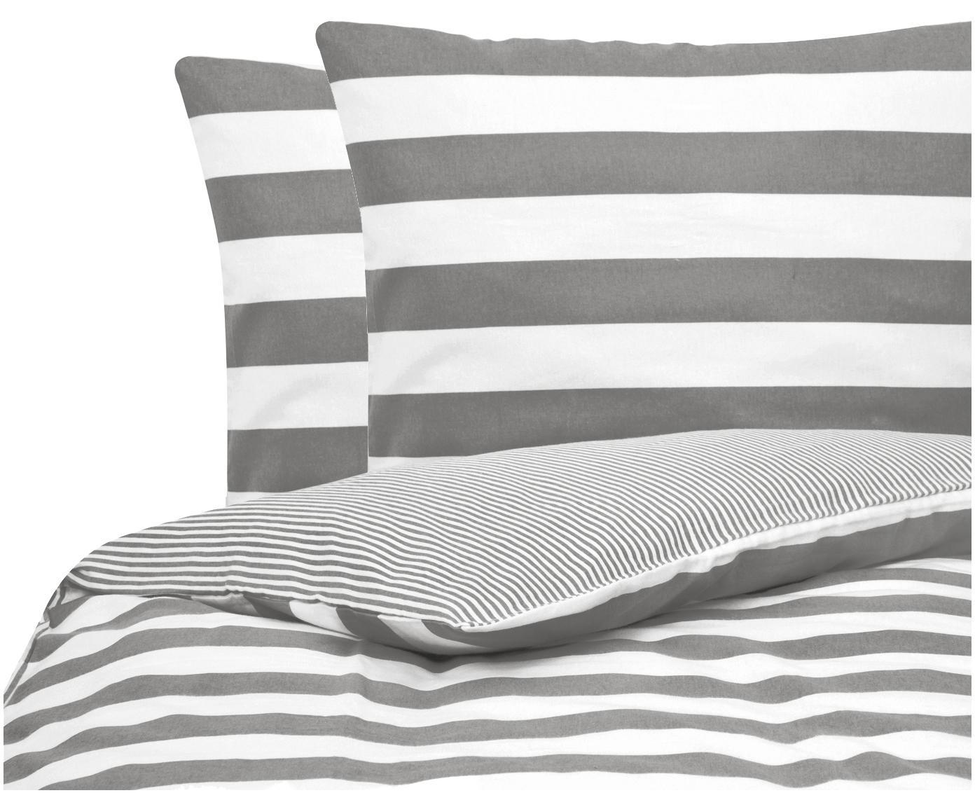 Flanell-Wendebettwäsche Dora, gestreift, Webart: Flanell Flanell ist ein s, Weiß, Grau, 240 x 220 cm + 2 Kissen 80 x 80 cm
