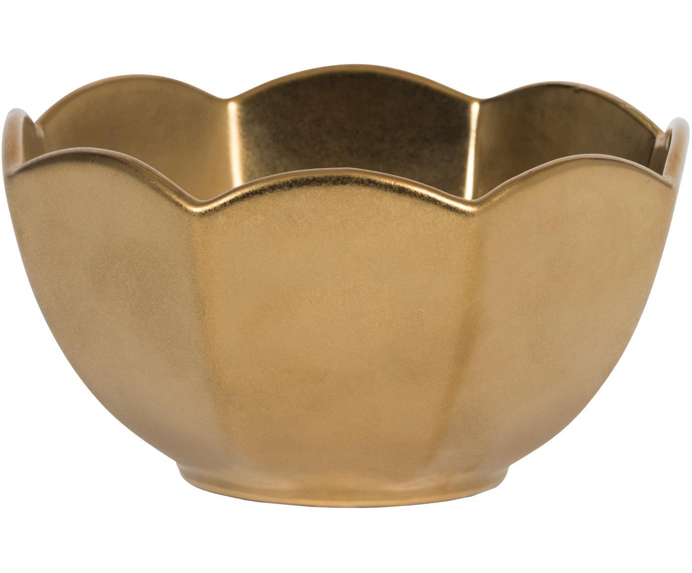 Handgemachtes Schälchen Ghabi in mattem Gold, Steingut, Goldfarben, Ø 13 x H 8 cm