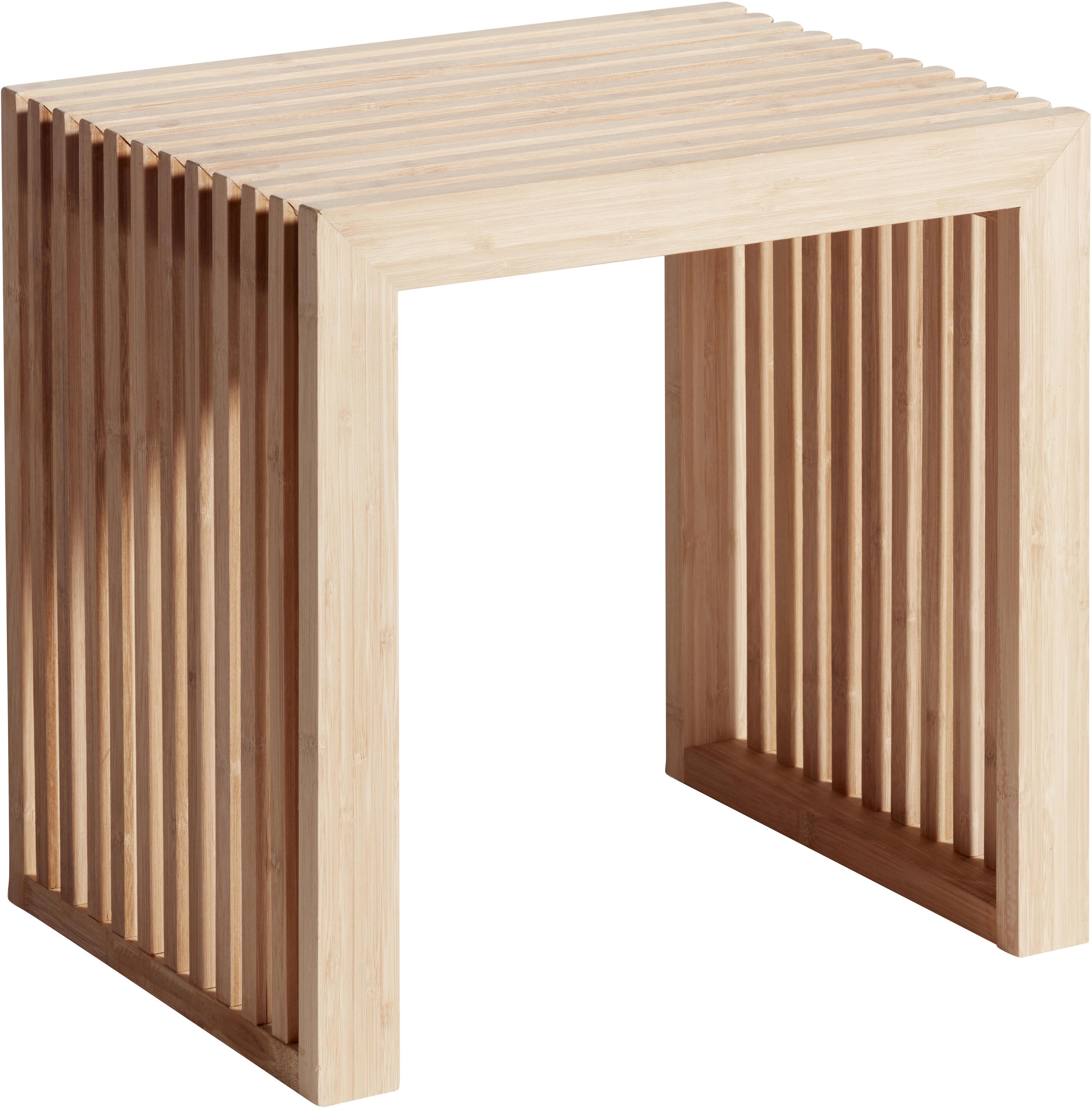 Taburete de bambú Rib, Bambú, limado y aceitado, Marrón, An 45 x Al 43 cm