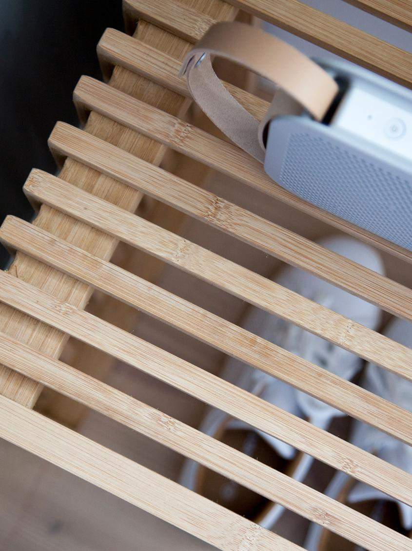 Hocker Rib aus Bambus, Bambus, geschliffen und geölt, Braun, 45 x 43 cm