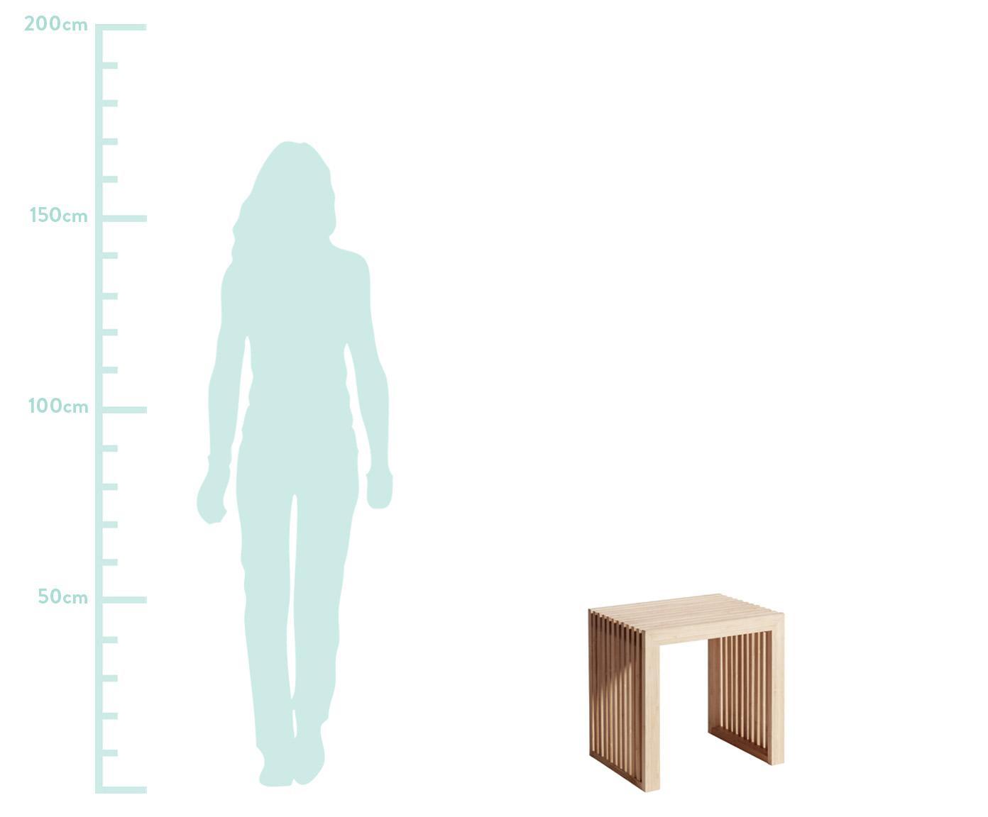 Sgabello in bambù Rib, Legno di bambù, sabbiato e oliato, Marrone, Larg. 45 x Alt. 43 cm