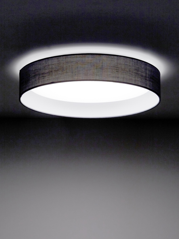 LED plafondlamp Helen, Frame: metaal, Diffuser: kunststof, Grijs, Ø 52 x H 11 cm