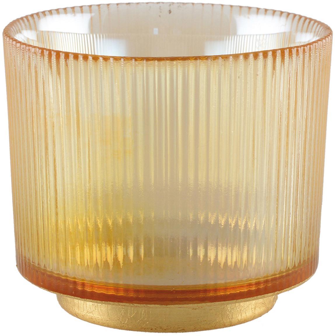 Teelichthalter Luster, Glas, Metall, Bernsteinfarben, transparent, Goldfarben, Ø 10 cm