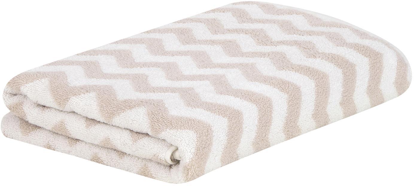 Handtuch Liv in verschiedenen Größen, mit Zickzack-Muster, Sandfarben, Duschtuch