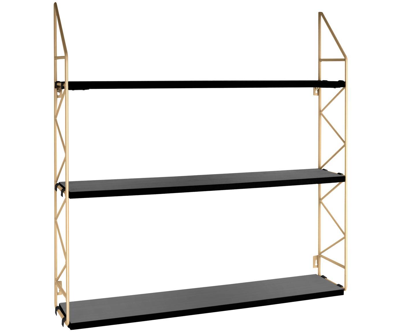 Klein wandrek Zig Zag, Frame: gelakt metaal, Frame: goudkleurig. Planken: zwart, 60 x 60 cm