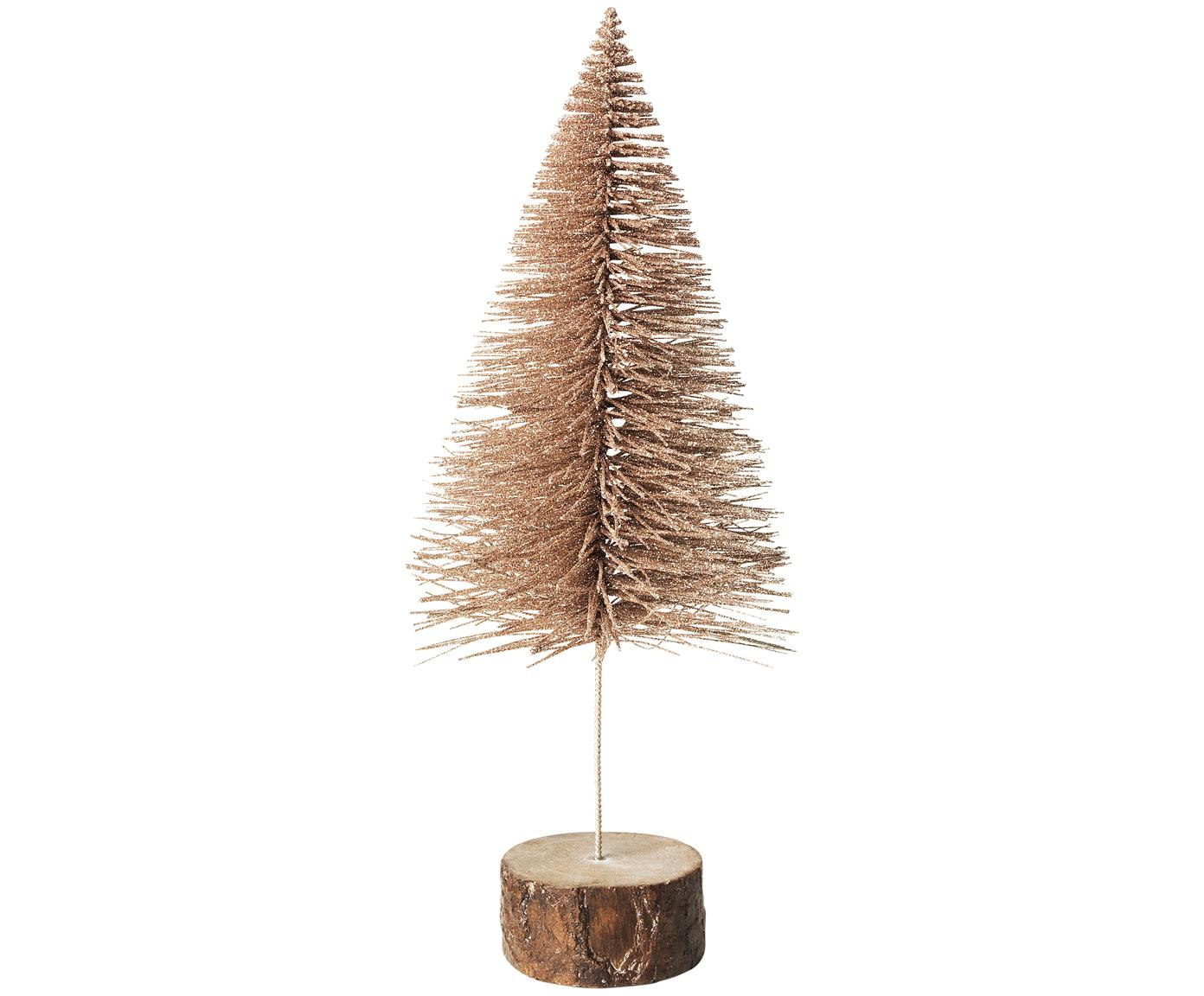 Decoratief object Christmas Tree, Voetstuk: polyresin, Champagnekleurig, bruin, Ø 12 x H 29 cm