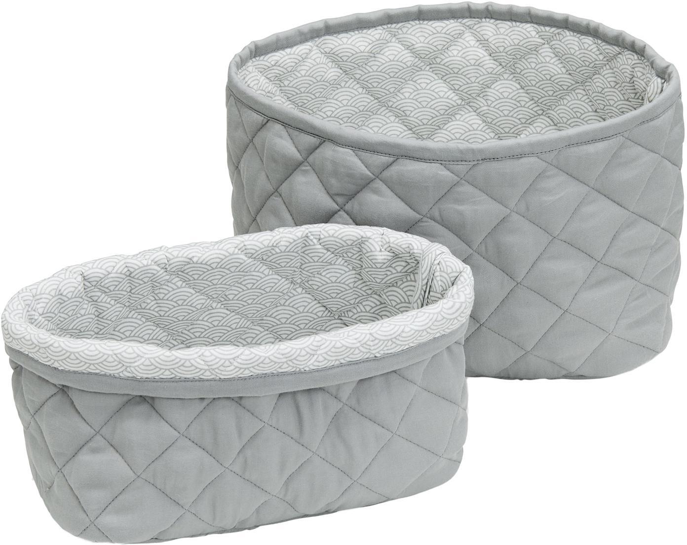 Set de cestas Wave, 2pzas., Exterior: algodón orgánico, Gris, Set de diferentes tamaños