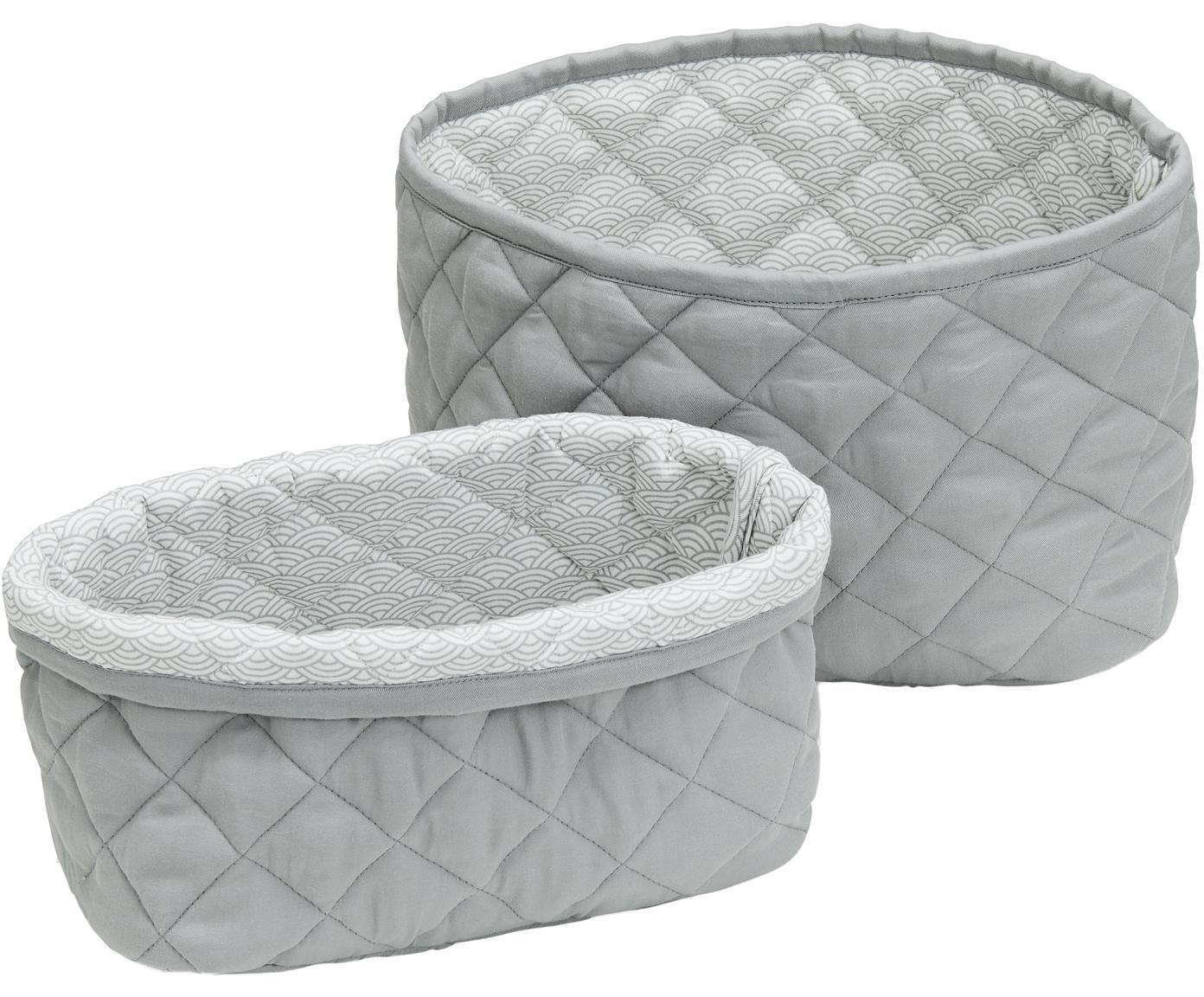 Set de cestas Wave, 2pzas., Exterior: algodón orgánico, Gris, Tamaños diferentes