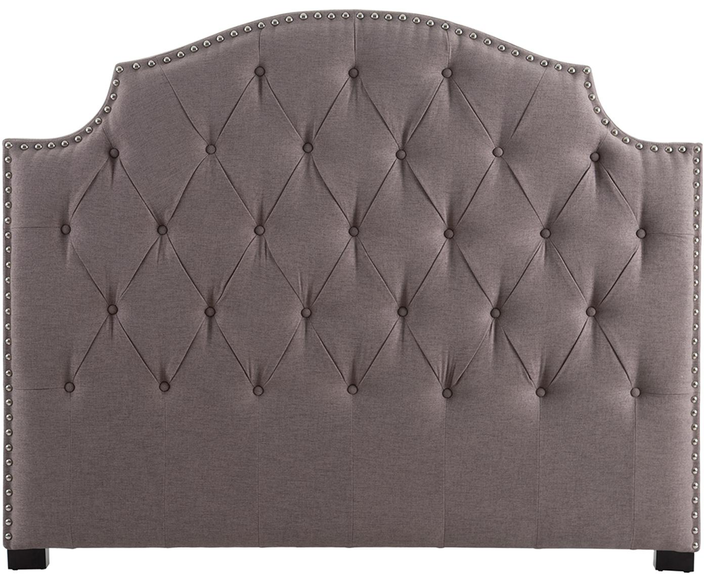 Cabecero tapizado Herodes, Tapizado: 100%poliéster, Patas: madera de caucho, Gris oscuro, An 160 x Al 130 cm