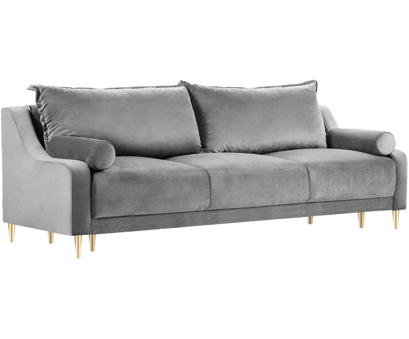 Sofa rozkładana z aksamitu Lea (3-osobowa), Tapicerka: aksamit poliestrowy, Nogi: metal malowany proszkowo, Szary, matowy, S 215 x G 94 cm