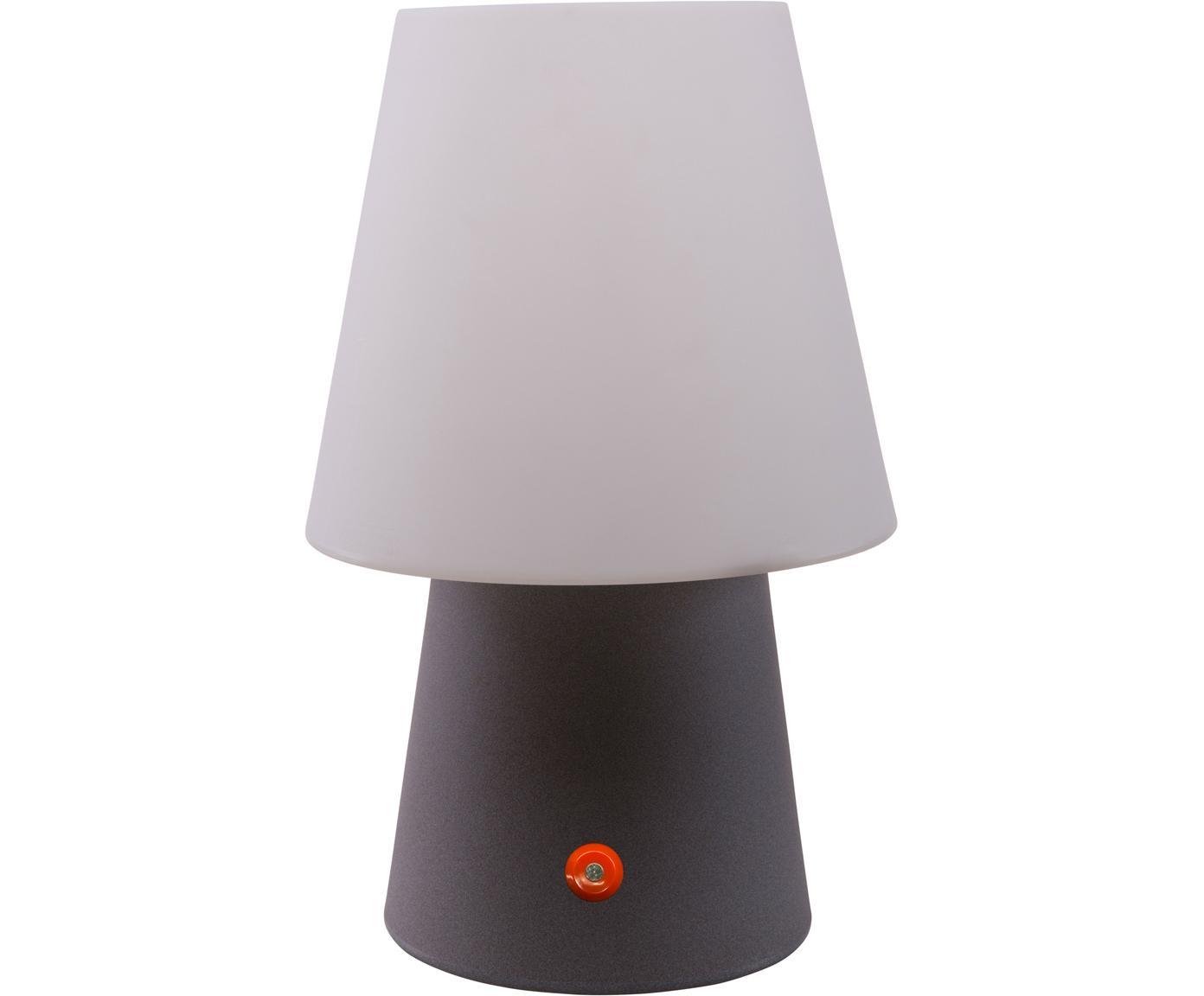 Lámpara de mesa LED móvil para exteriores No.1, Plástico, Blanco, gris pardo, Ø 18 x Al 29 cm