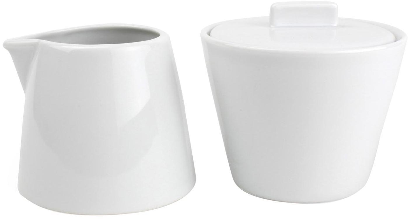 Komplet do mleka i cukru Stripeless, 2 elem., Porcelana, Biały, Komplet z różnymi rozmiarami