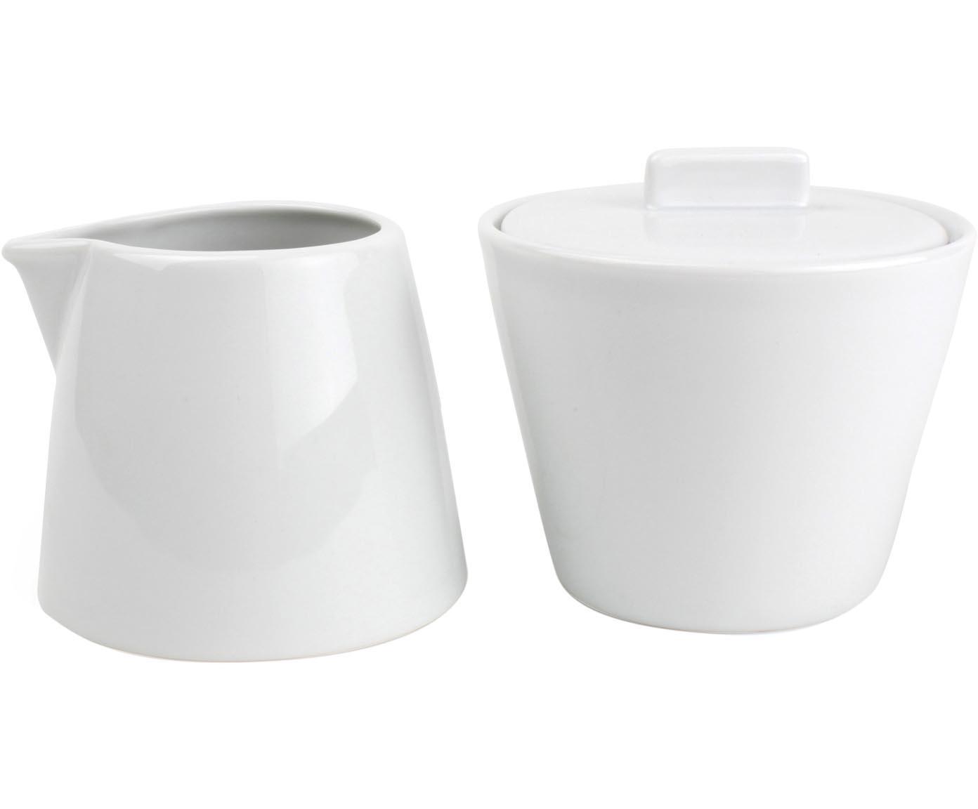 Komplet do mleka i cukru Stripeless, 2 elem., Porcelana, Biały, Różne rozmiary