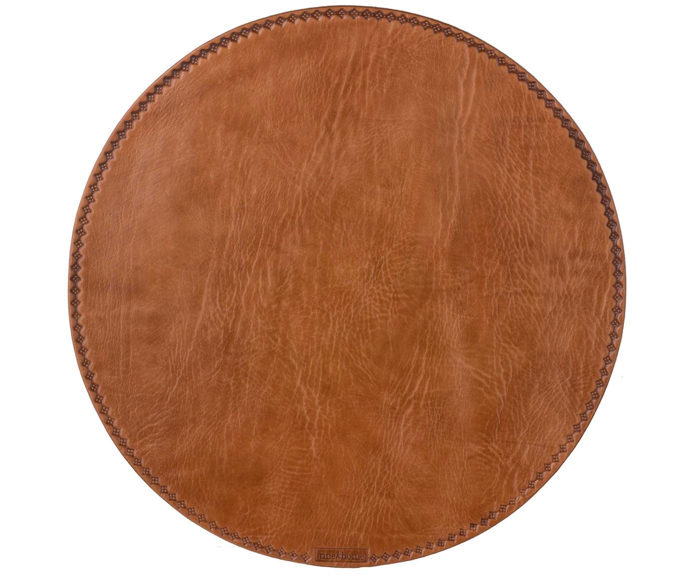 Bolvormige leer placemat Lia, Bruin, Ø 40 cm