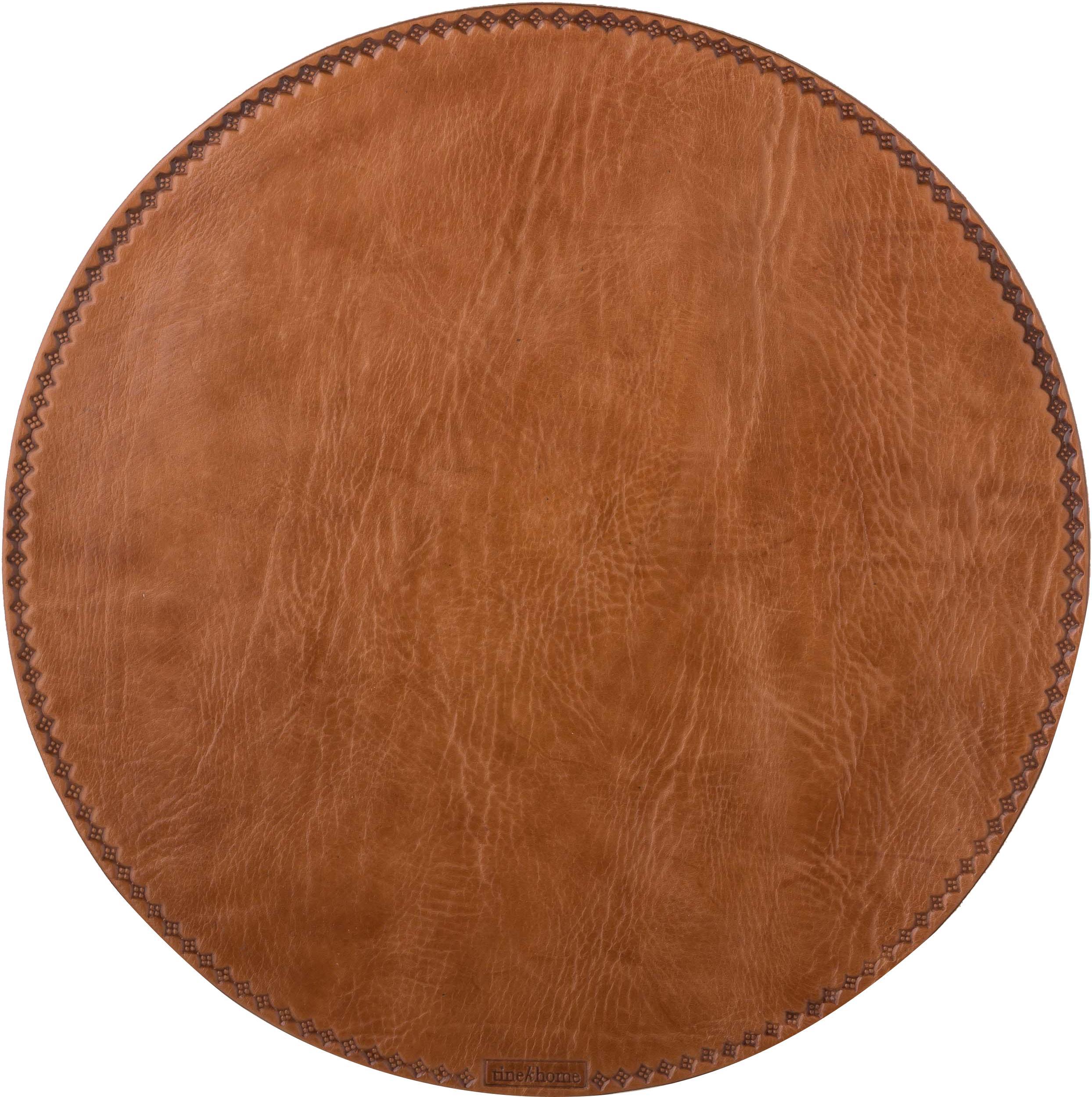 Manteles individuales redondos de cuero Lia, Marrón, Ø 40 cm