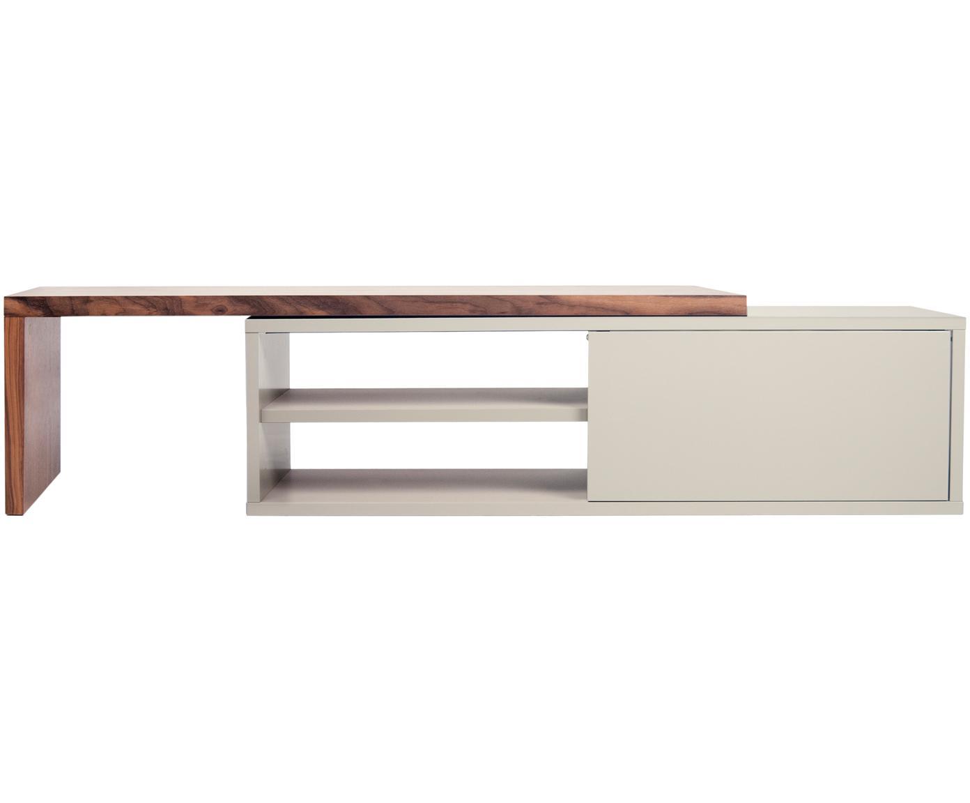 Mueble TV extensible Lieke, Estante: aglomerado, chapado en no, Gris, nogal, An 110 - 203 x Al 32 cm