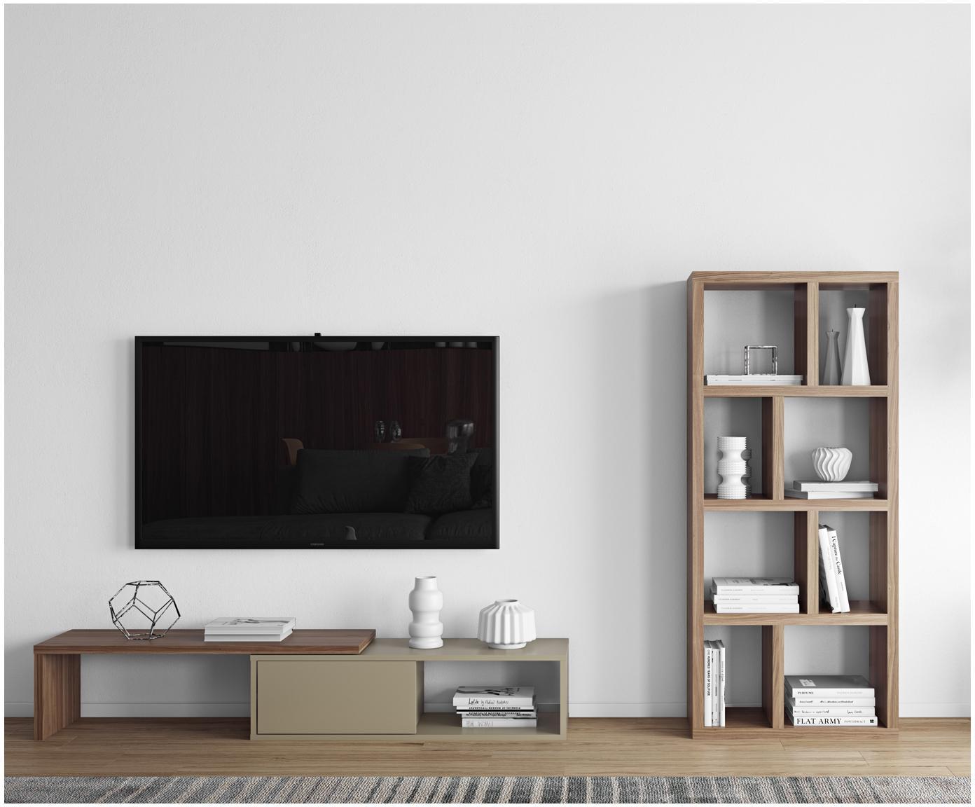 Szafka RTV z przesuwanymi drzwiczkami  Lieke, Szary, drewno orzecha włoskiego, S 110 do 203 x W 32 cm