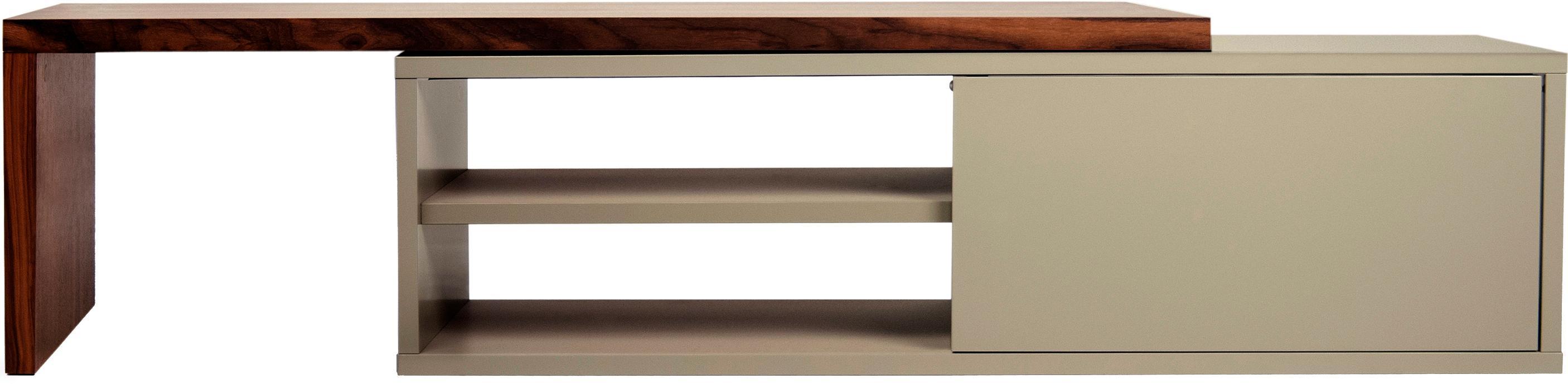 TV-Lowboard Lieke mit Schiebetür, Auflageelement: Mitteldichte Holzfaserpla, Lowboard: Mitteldichte Holzfaserpla, Walnussholz, Grau, 110 x 32 cm