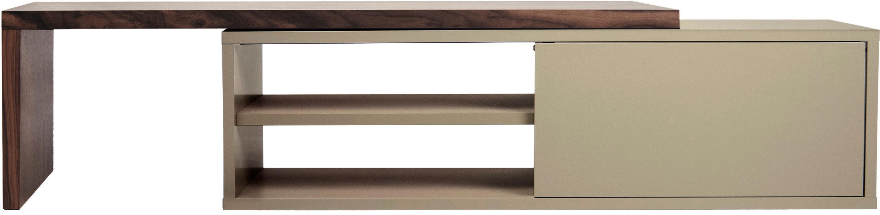 Ausziehbares TV-Lowboard Lieke mit Schiebetür, Auflageelement: Mitteldichte Holzfaserpla, Lowboard: Mitteldichte Holzfaserpla, Walnussholz, Grau, 110 x 32 cm