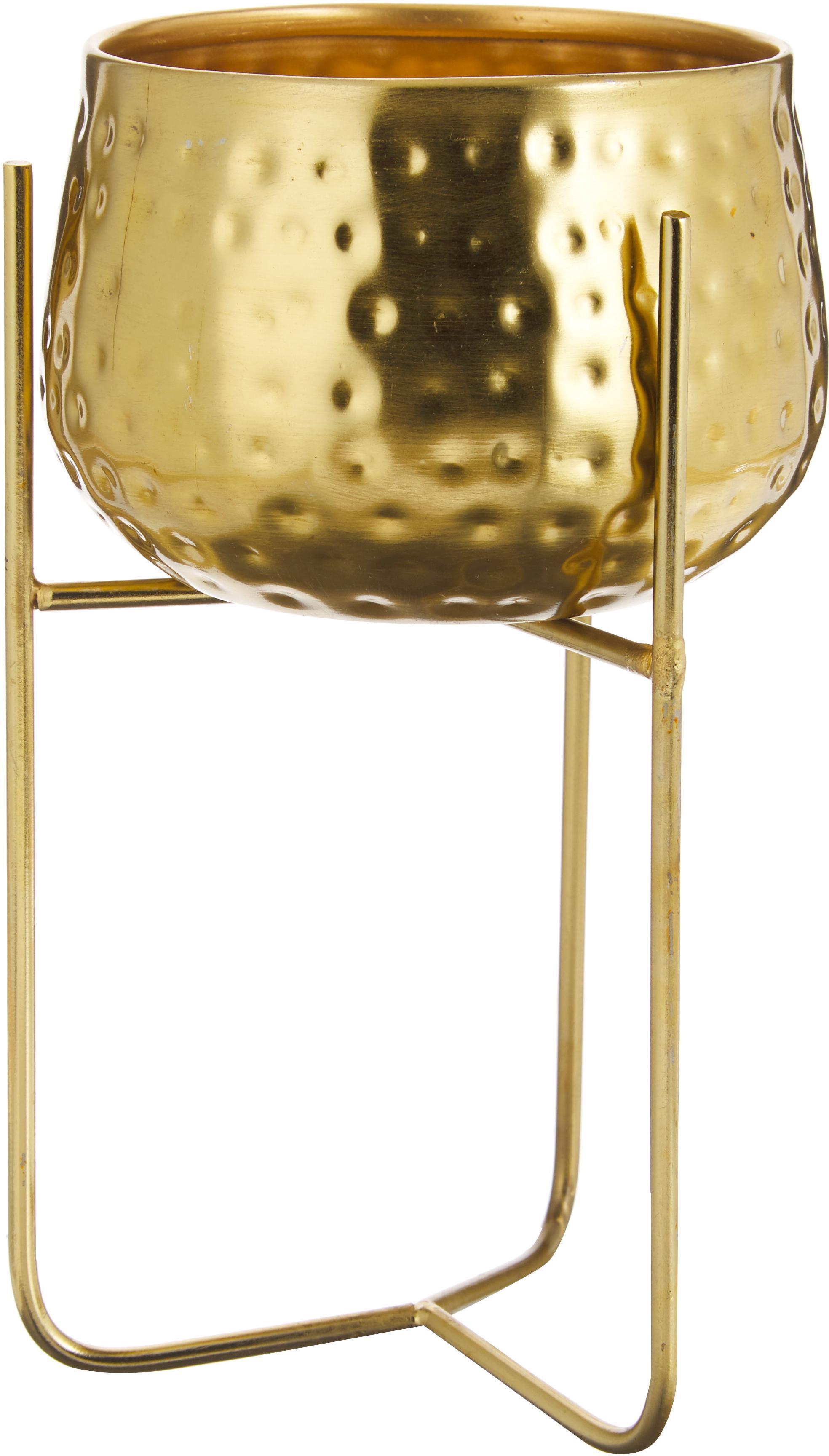 Übertopf Werton, Metall, beschichtet, Goldfarben, Ø 13 x H 23 cm