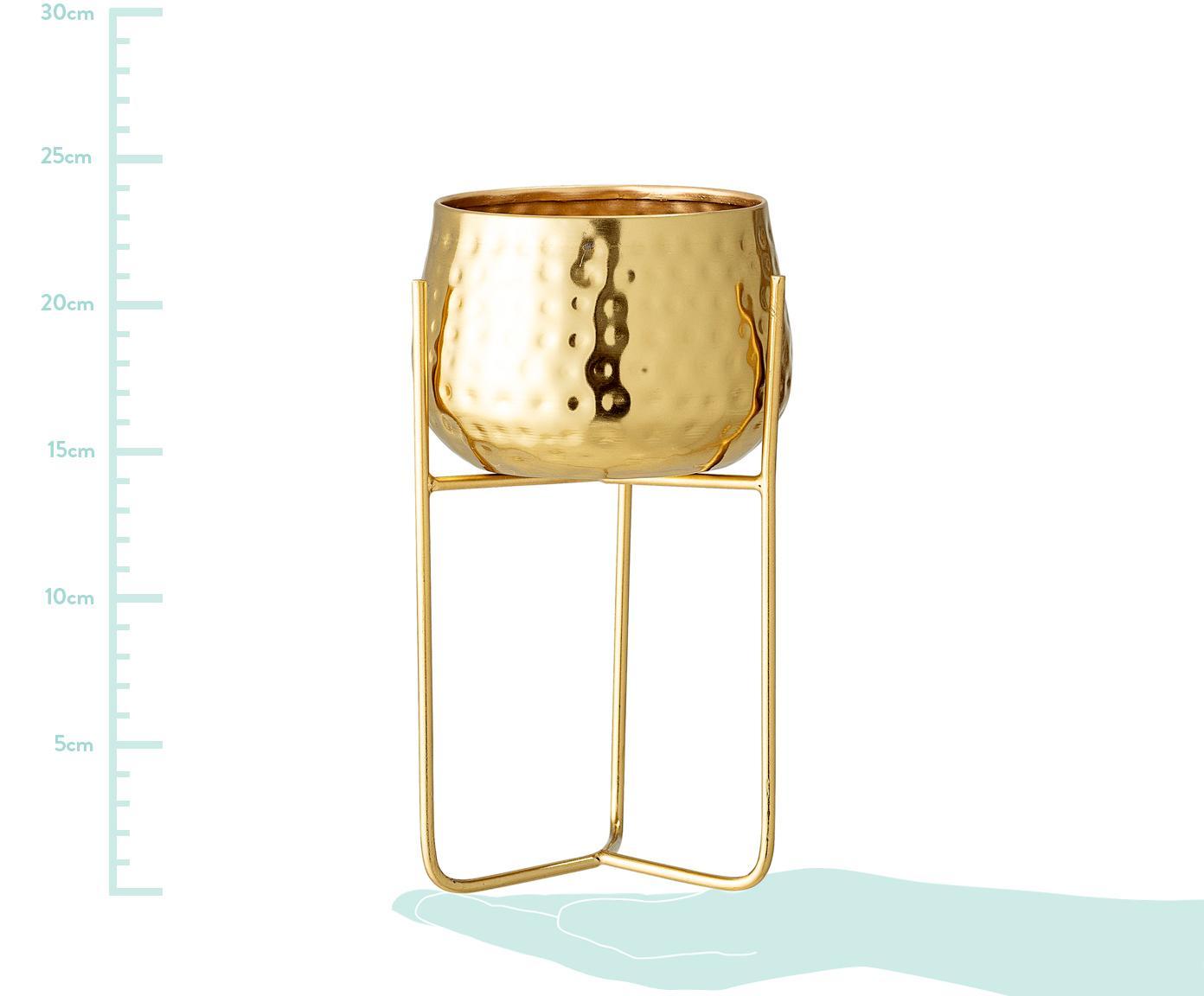Osłonka na doniczkę Werton, Metal powlekany, Odcienie złotego, Ø 13 x W 23 cm