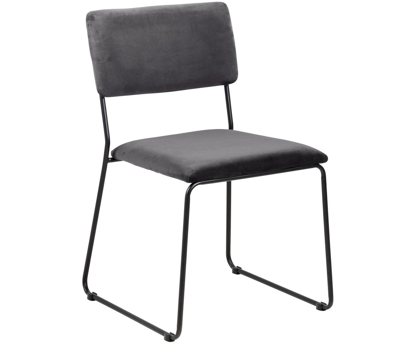 Fluwelen stoelen Cornelia, 2 stuks, Bekleding: polyester fluweel, Poten: gelakt metaal, Donkergrijs, zwart, B 50 x D 54 cm